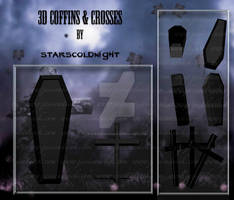 3D Coffins and Crosses by StarsColdNight