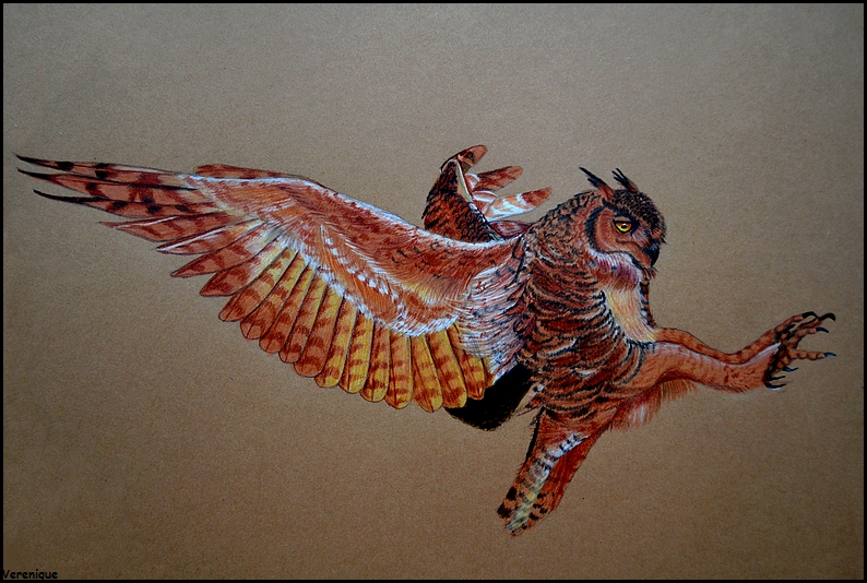 Great Horned Owl Flying Tattoo Great horned owl by Ve...