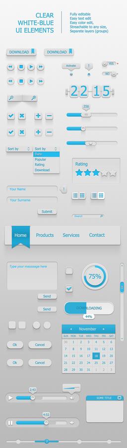 Clear White-Blue UI Elements
