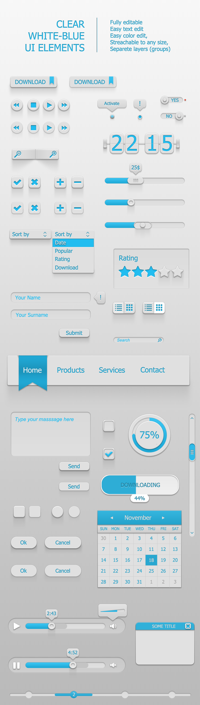 Clear White-Blue UI Elements by popaginovski