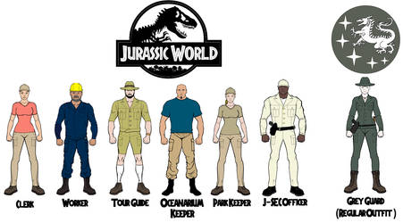 Some Jurassic World employees and a Grey Guard