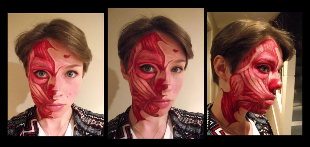 Gory half-face paint by Amika-Crystacia