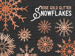 Rose Gold Glitter Snowflakes - Cliparts