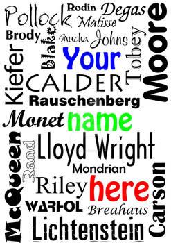 Art + Design leaflet: names