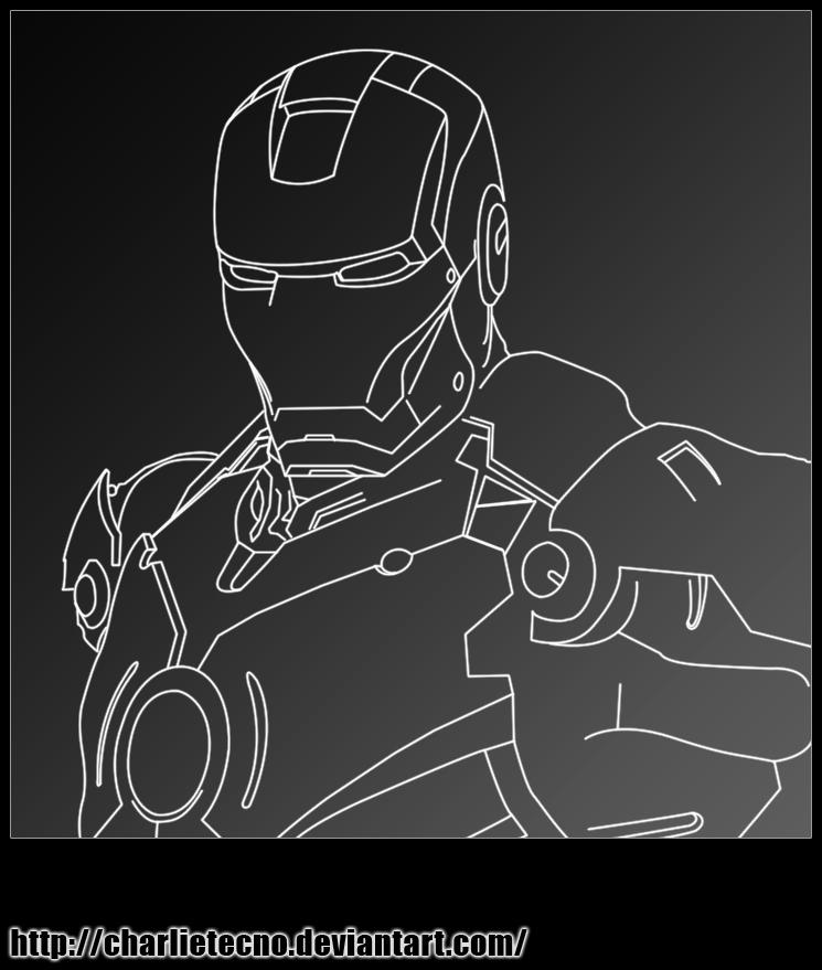 Line Art Man : Iron man line art by charlietecno on deviantart