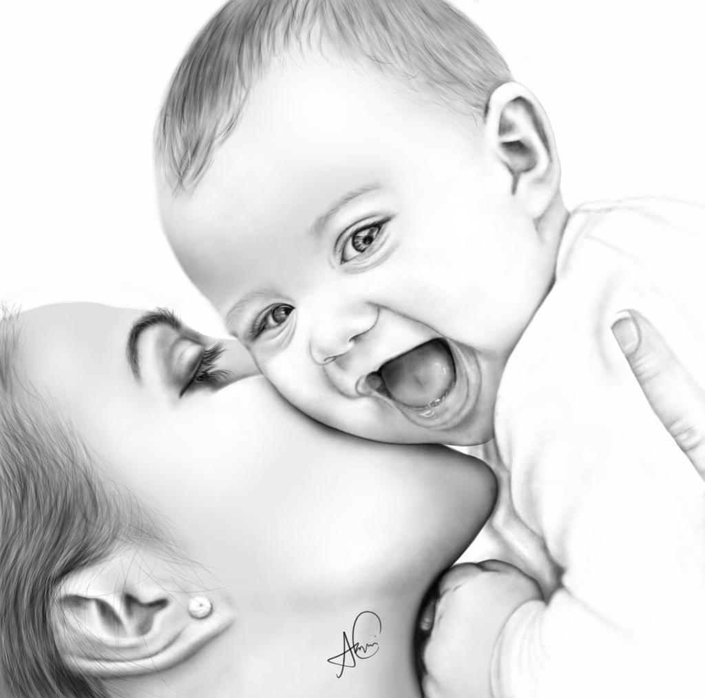 Digital Painting Of Mother And Baby By Laziee2ann On