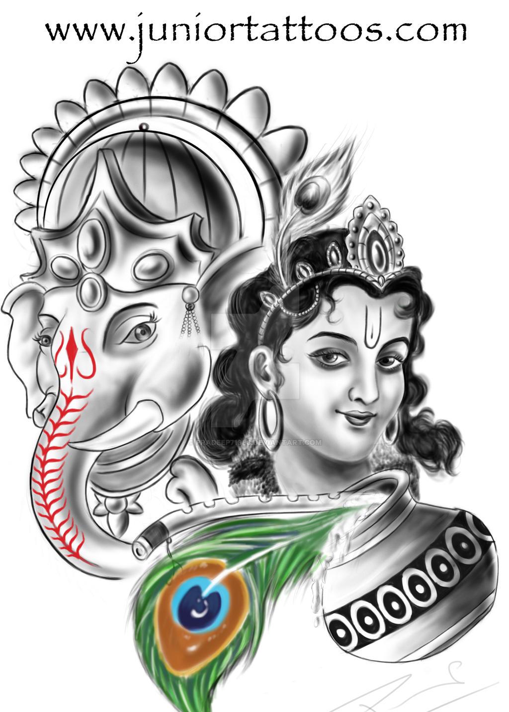 lord ganesha and krishna tattoo by pradeep71988 on deviantart. Black Bedroom Furniture Sets. Home Design Ideas