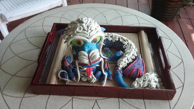 Chinese Dragon Clay Sculpture