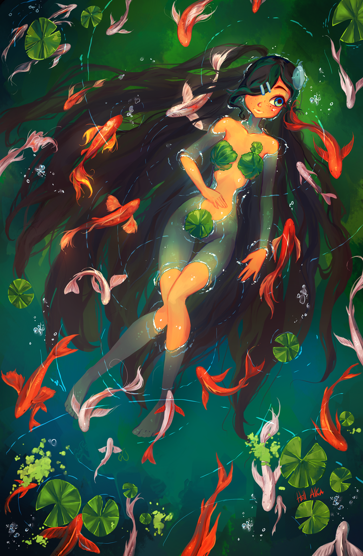 Angelina in a pond with fish: for LOGII Contest by Hell-Alka