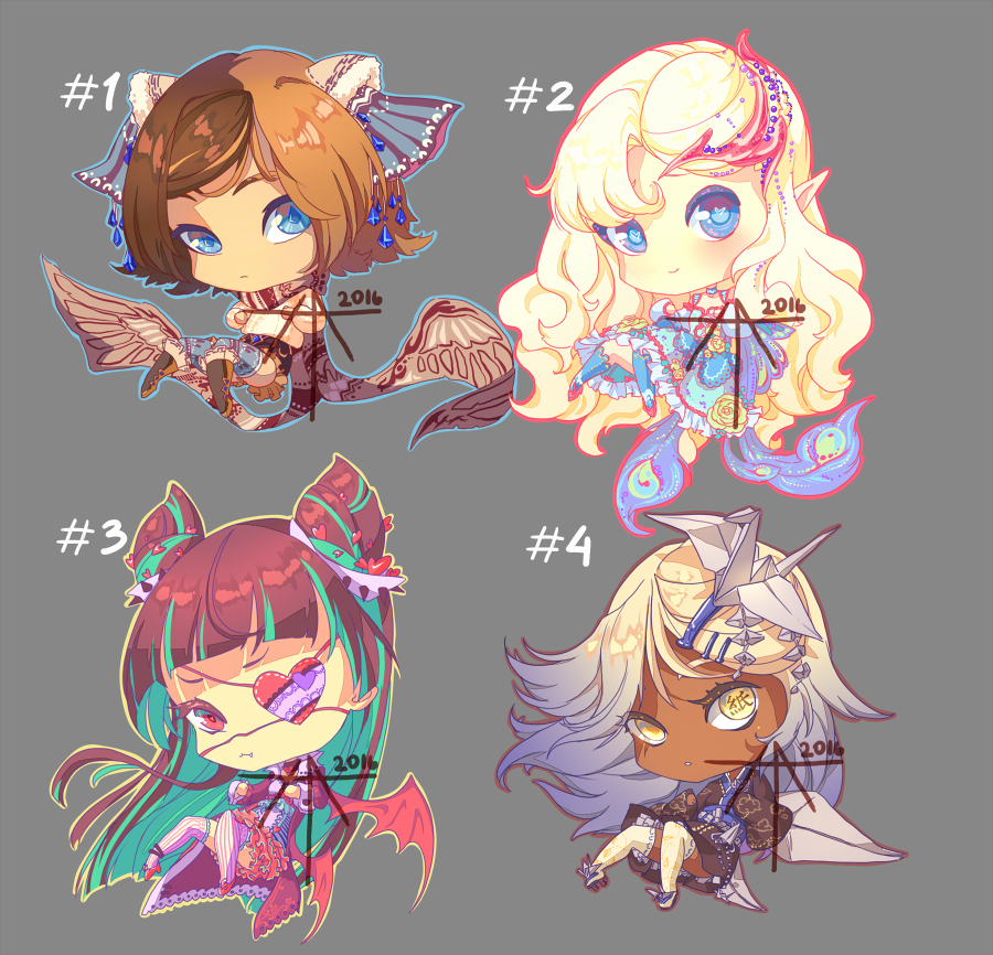 [CLOSED] Auction - chibi adopts with wings!
