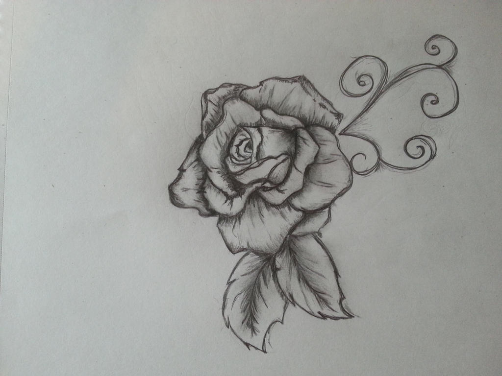 Sketch in black and white rose by chanson sirene d ile for Good and easy drawings