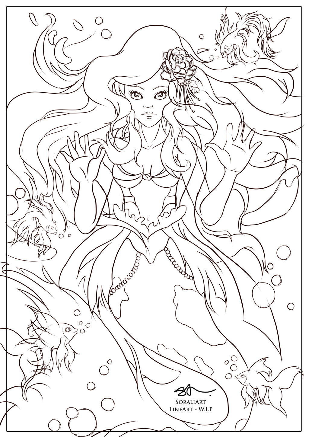 Line Drawing Artist Research : Arial mermaid goldfish lineart by sorali on deviantart