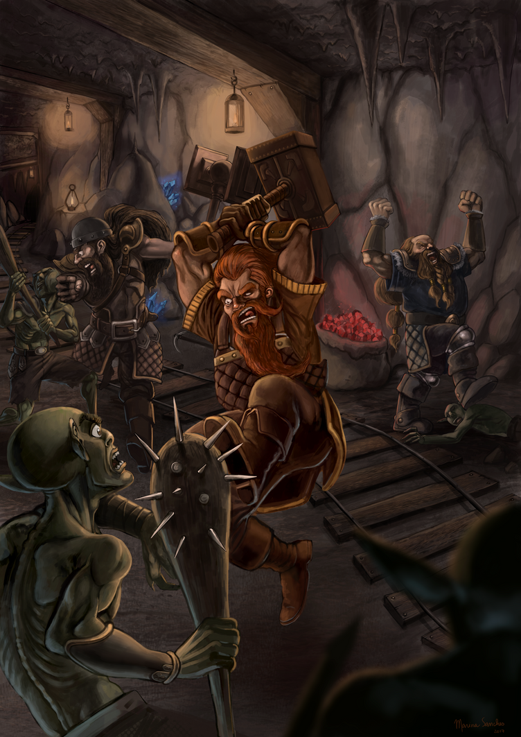 Dwarves fighting back an invasion by marinasanc