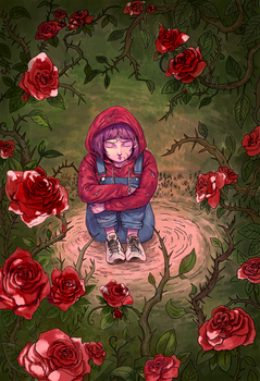 Girl surrounded by roses