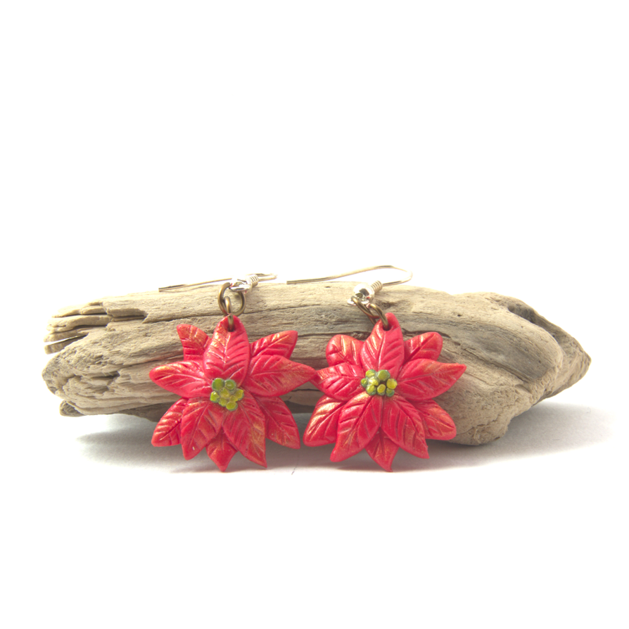 Poinsettia Polymer Clay Earrings by Gardi89