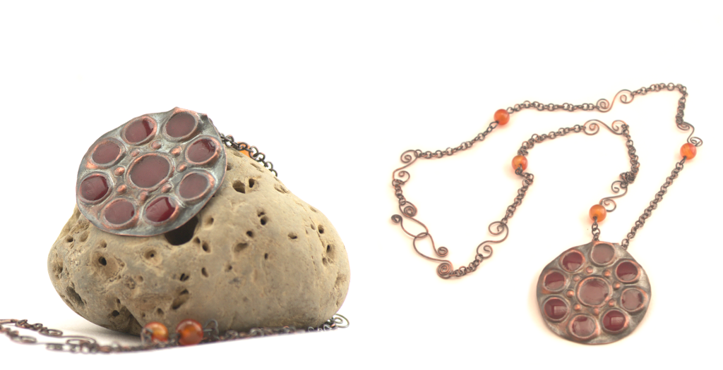 Cold Enameled Copper Necklace by Gardi89