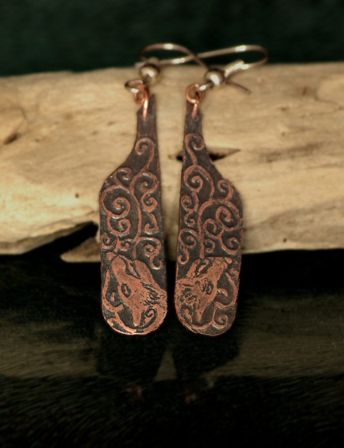 Wolf Song Etched Earrings by Gardi89