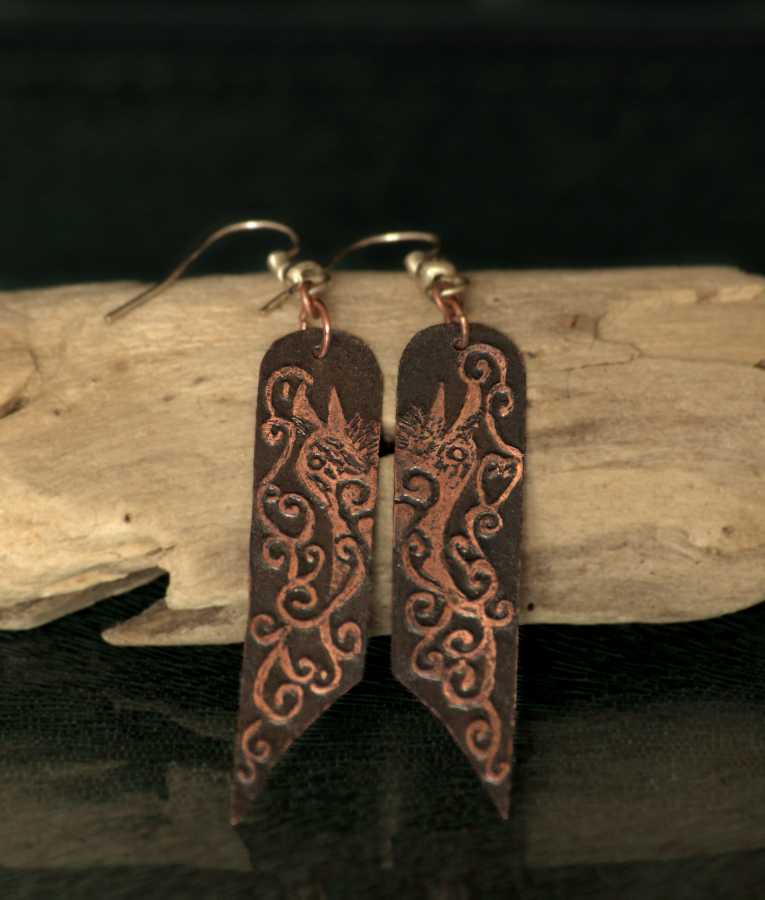 Raven Song Etched Earrings by Gardi89