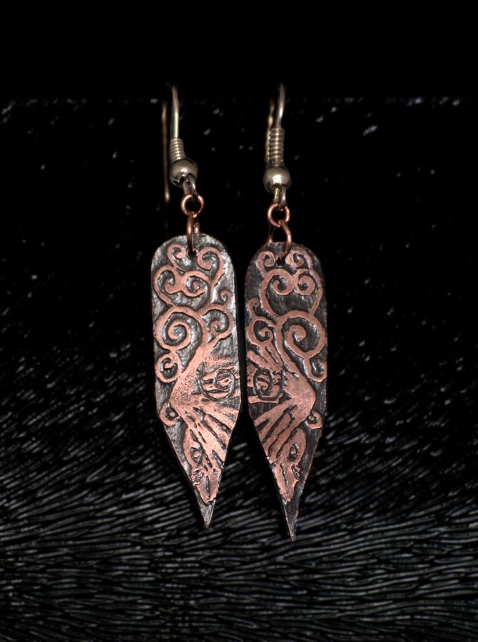Raven Song Flight Etched Earrings by Gardi89
