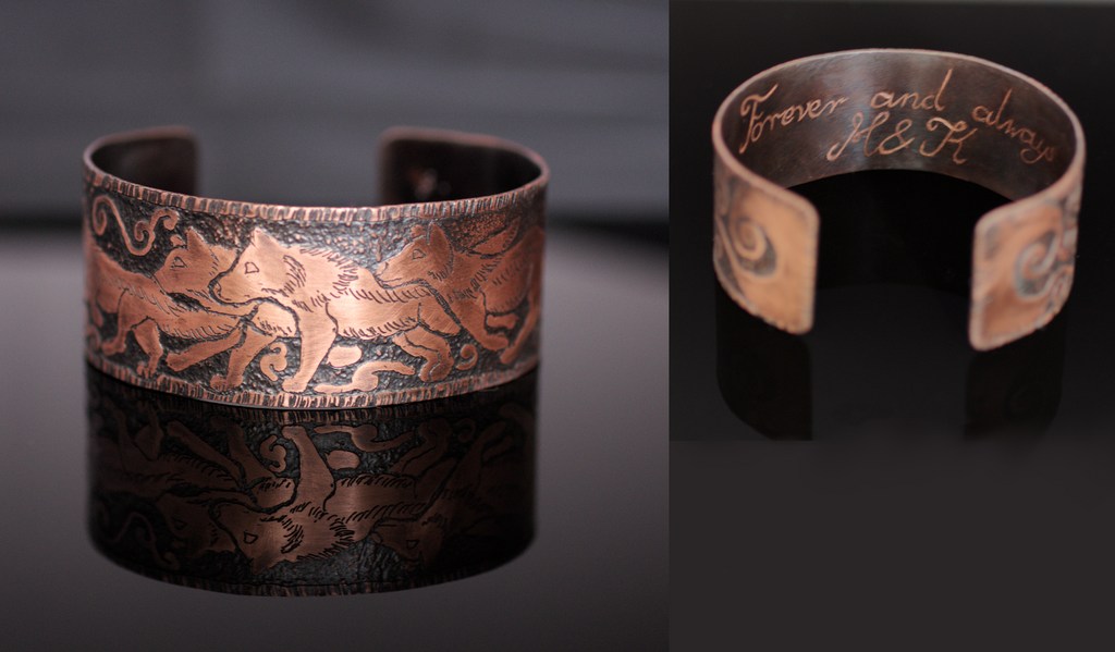 Wolf Song Etched Copper Cuff by Gardi89