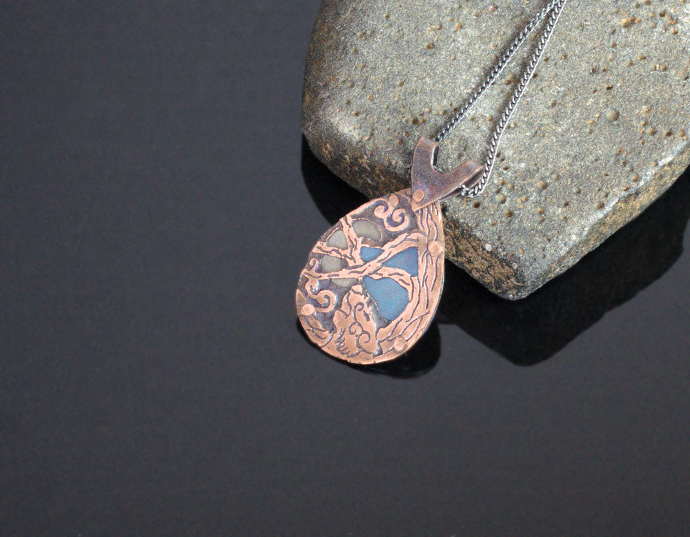 Etched Copper And Titanium Wolf Pendant by Gardi89