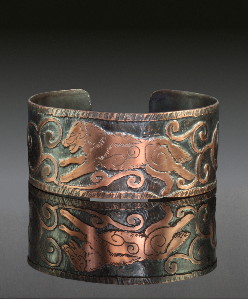 Running Wolf Etched Copper Cuff by Gardi89