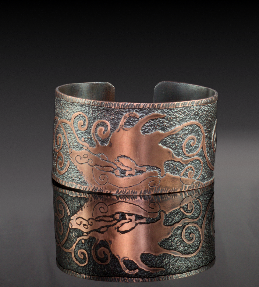 Megaloceros Giganteus Etched Copper Cuff by Gardi89