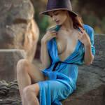 Naya in blue dress