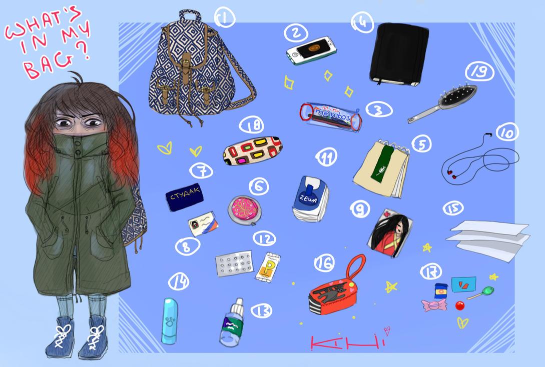 What's in my bag meme. by Kihiart