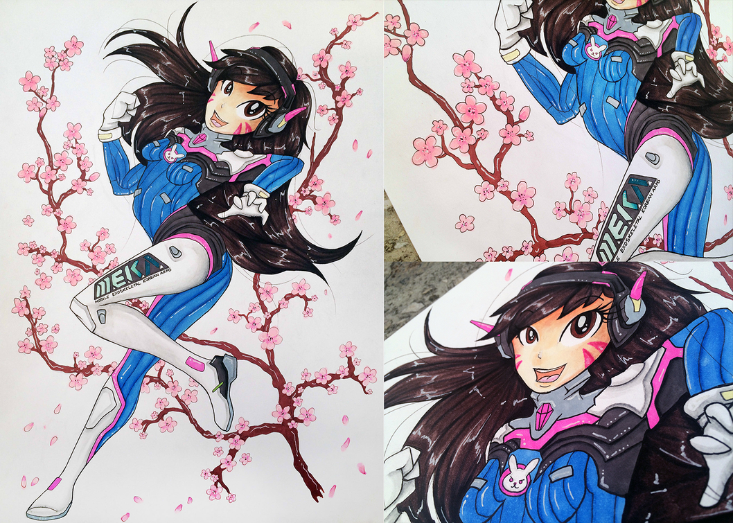 Overwatch - Traditional D.Va drawing - SOLD by KairaAnix
