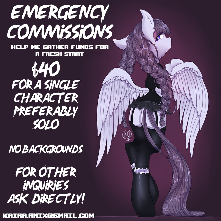 Emergency commissions! by KairaAnix