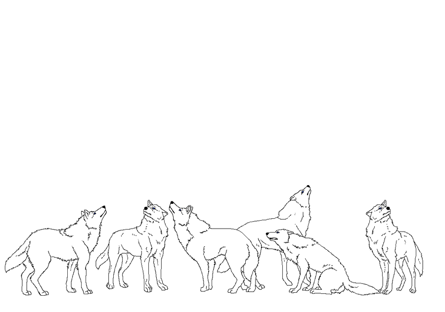 Look up! wolf lineart by WhiteWolfCrisis13