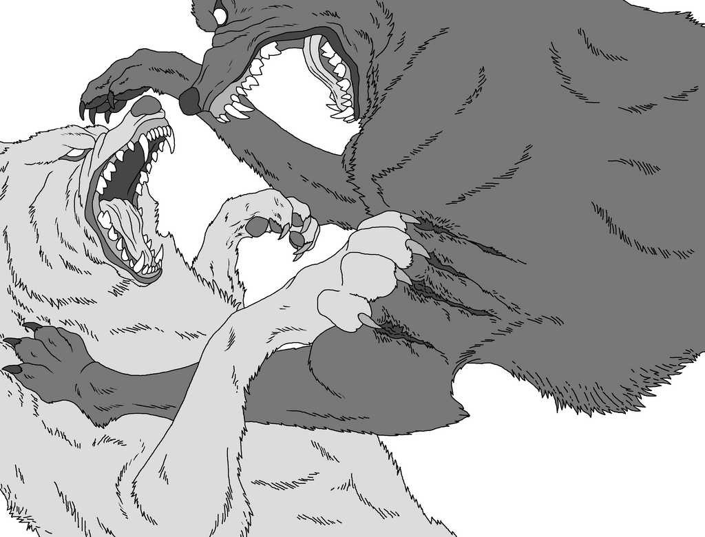 Ultimate Wolf Fight (MS Paint Lineart) by WhiteWolfCrisis13