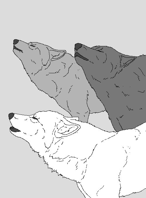 Singing Wolves Lineart by WhiteWolfCrisis13