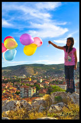 colorful balloons and children by emrepullukcu