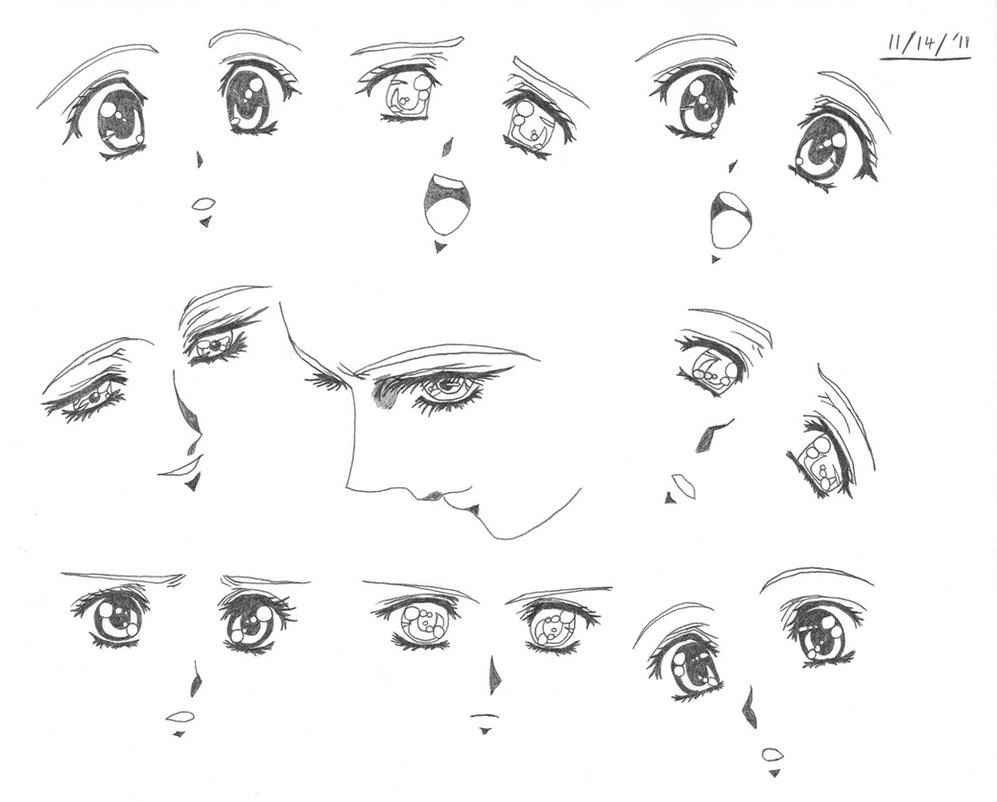 Anime Female Eyes Side View