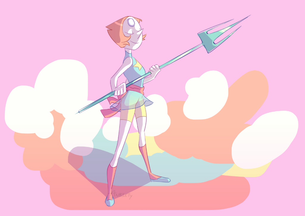 The internet was out a week or so ago, so I decided to draw Pearl from memory 8^) thought I'd messed up but it's pretty accurate! totally gave up on the trident tho lmao