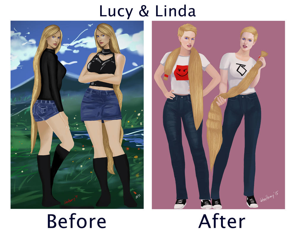 The Twins (Lucy and Linda) Long and Short hair by ...