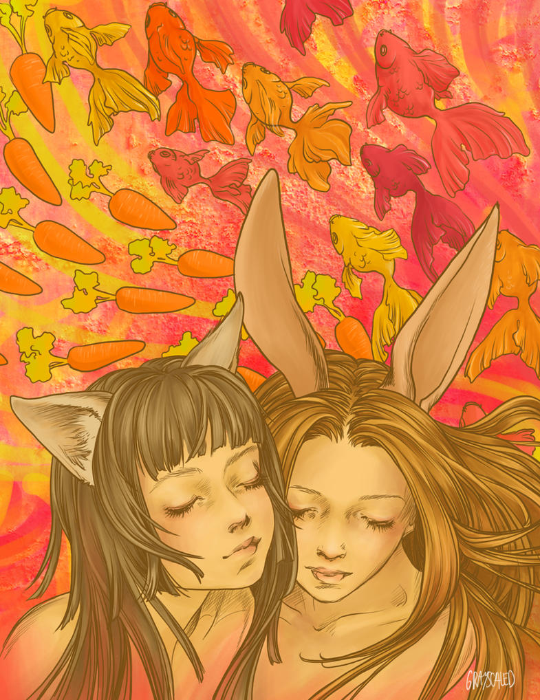 Co-Joined Cat and Bunny Dreams by GRAYSCALED