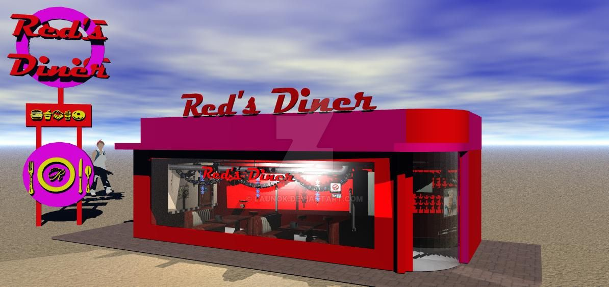 Red's Diner (download building and sign) by launok