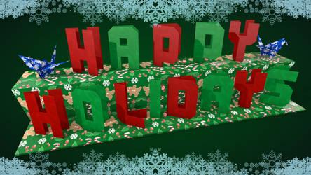 Happy Holidays Origami Birds