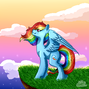 Rainbow Dash Pixelscape by cloudsabovedawn