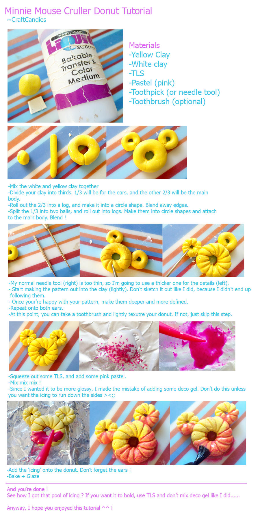Polymer Clay : Minnie Mouse Cruller Donut Tutorial by CraftCandies