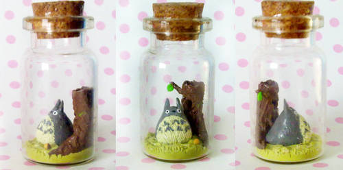 Polymer Clay : Totoro in a bottle