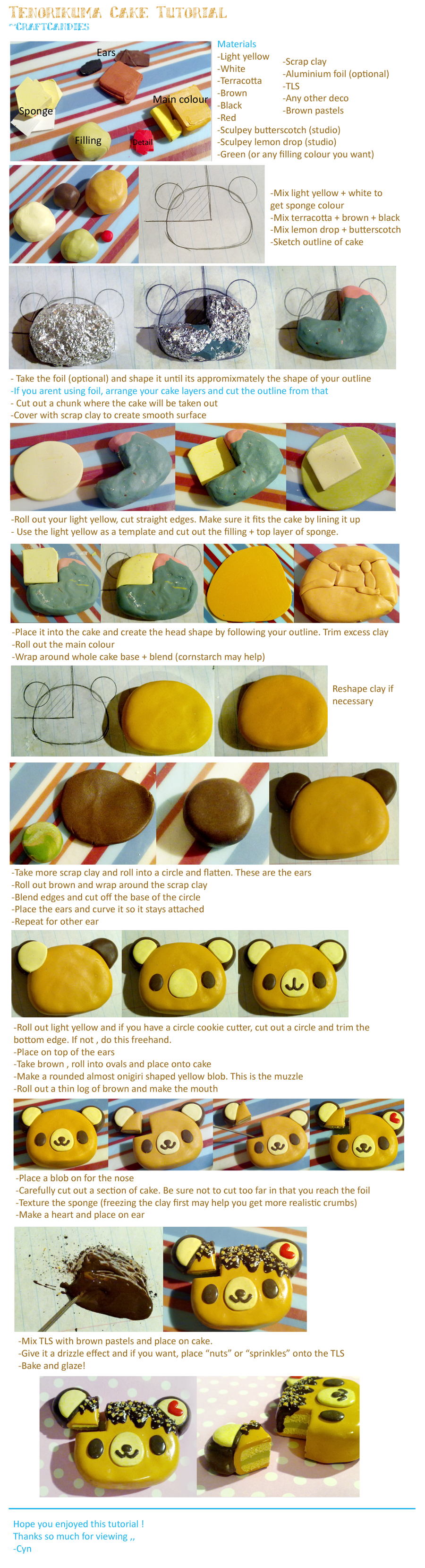 Polymer Clay: Tenorikuma Cake Tutorial by CraftCandies