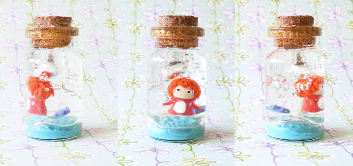 Polymer Clay : Ponyo in a bottle
