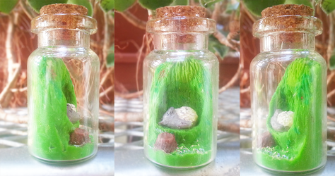 Polymer Clay : Totoro Sleeping in a glass bottle