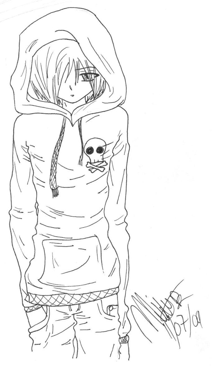 Emo anime guy by akemikae on deviantart for Emo coloring pages