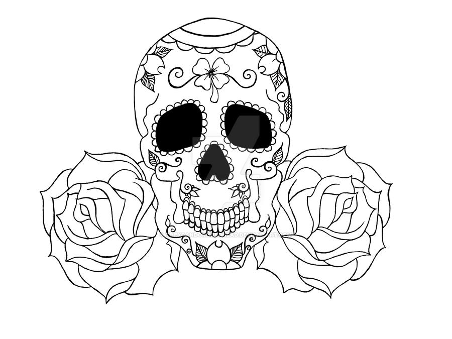 sugar skull and roses doms tattoo by thexrandomxredhead