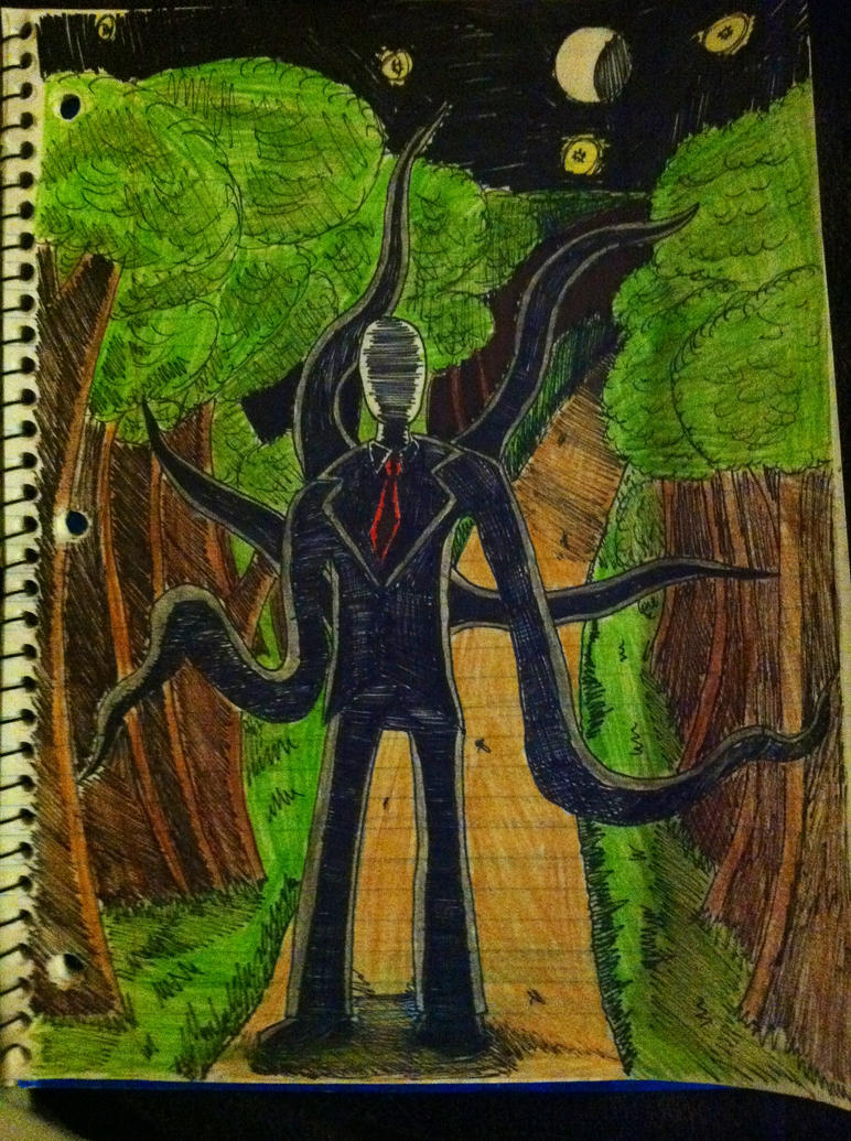 Slender man doodle gone good by sazersizer